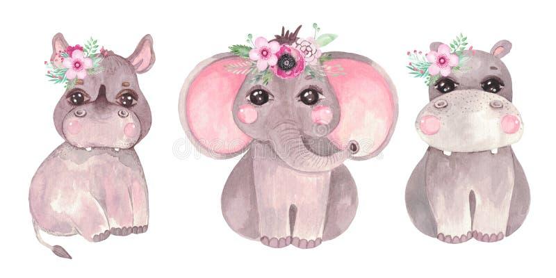 Watercolor illustration of a cute baby elephant, hippo, rhino Safari animal clip art for invitations, baby shower. Watercolor illustration of a cute baby stock photos