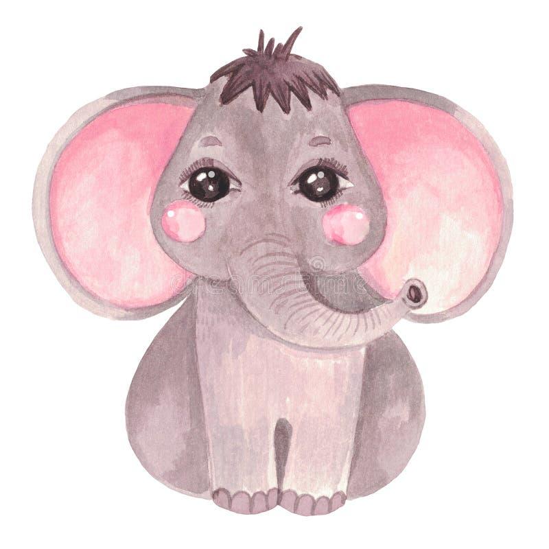 Watercolor illustration of a cute baby elephant Safari Safari animal clip art for invitations, baby shower, nursery wall. Watercolor illustration of a cute baby stock illustration