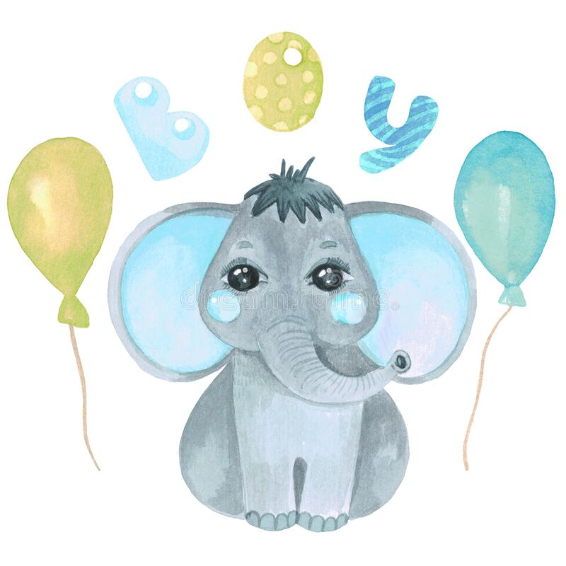 Watercolor illustration of a cute baby elephant Safari Safari animal clip art for invitations, baby shower, nursery wall. Watercolor illustration of a cute baby stock image