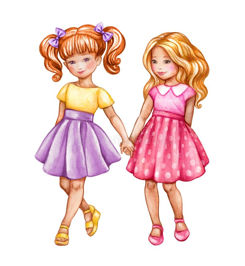 Watercolor illustration, best friends, cute girls holding hands, children, teenagers clip art isolated on white background royalty free illustration