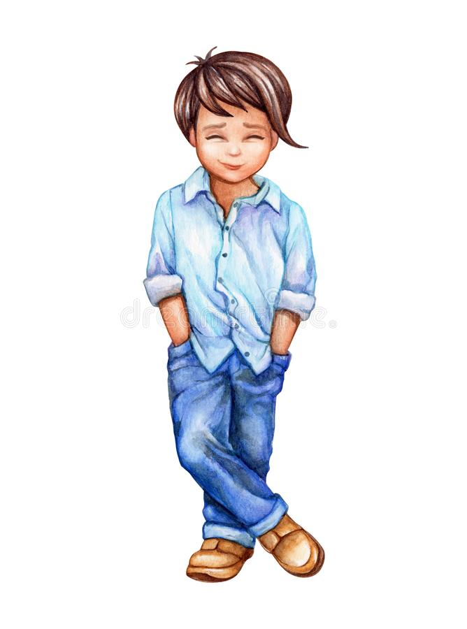 Watercolor illustration, cute little boy in blue jeans, schoolboy, teenager, isolated on white background royalty free illustration