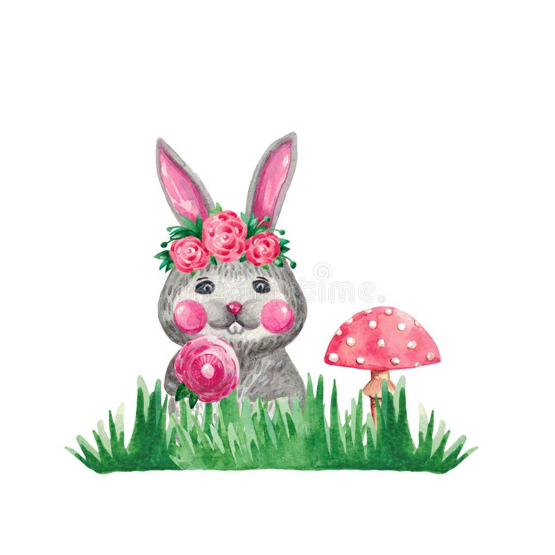 Watercolor illustration of a cute rabbit with flowers in green grass mushroom on white isolated background Hand drawing of forest. Watercolor illustration of a royalty free stock photos