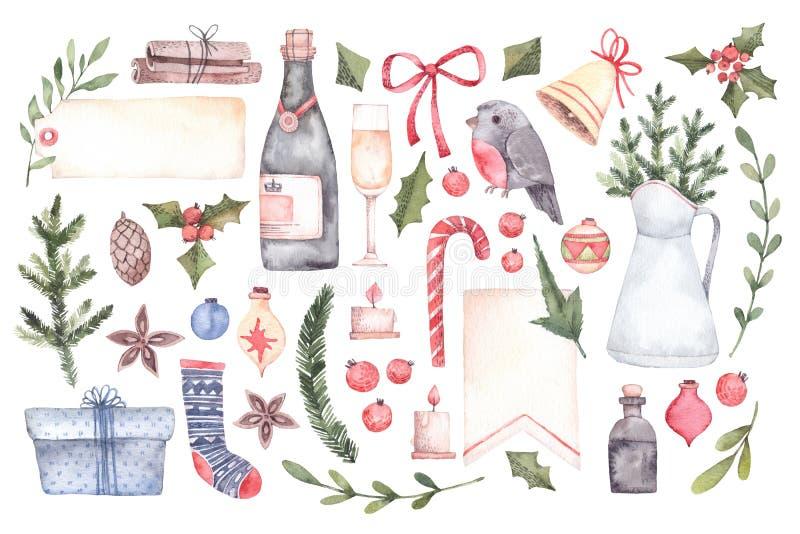 Watercolor illustration. Decorative christmas elements with floral elements, christmas decorations, bells, champagne, labels etc. royalty free illustration