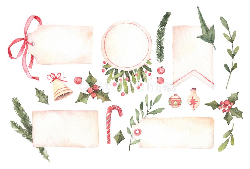 Watercolor illustration. Decorative christmas labels with floral stock illustration
