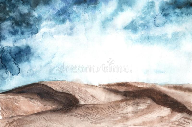 Watercolor illustration of desert landscape. Hand drawn background, wallpaper, backdrop, template for design deserts sky royalty free stock image