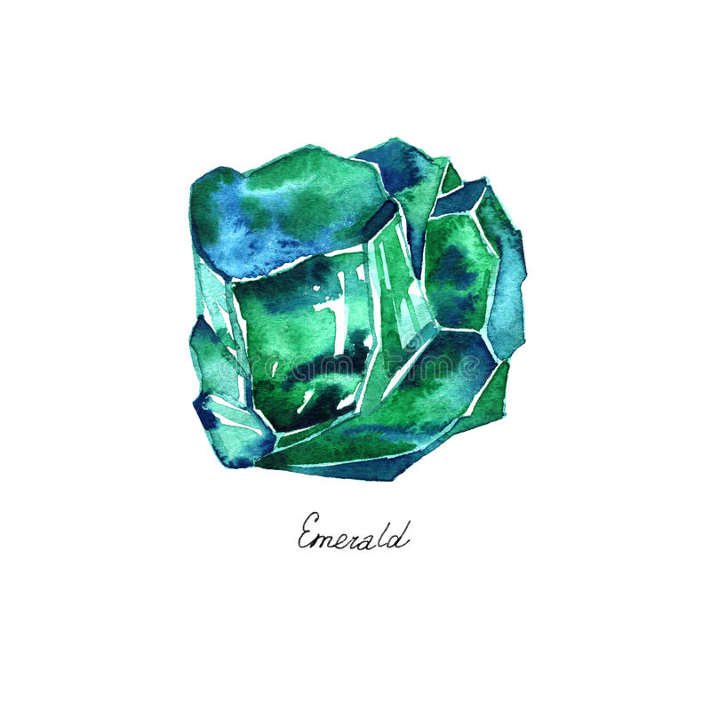 Watercolor illustration of diamond crystal. Green emerald. vector illustration