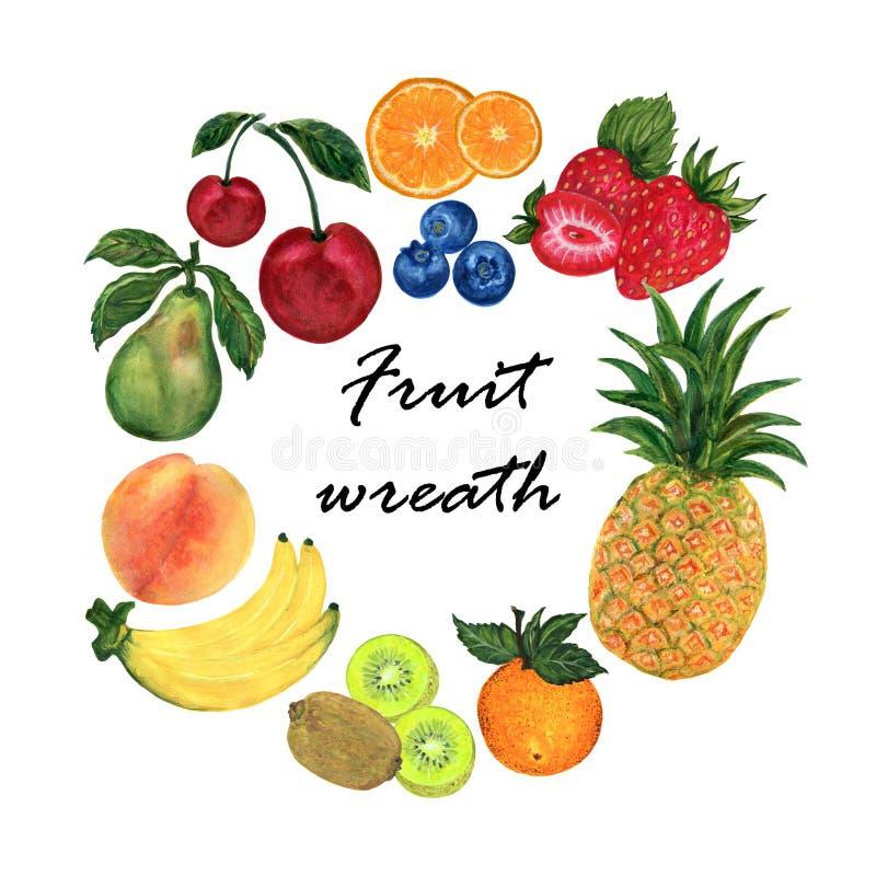 Watercolor illustration of different organic fresh fruit foods smoothies peach, kiwi, cherries, pear, pineapple, peach, orange, vector illustration