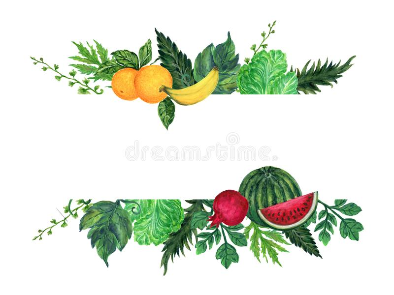 Watercolor illustration of different organic fresh fruit vegetable healthy foods for restaurant cafe frame banner wreath vector illustration