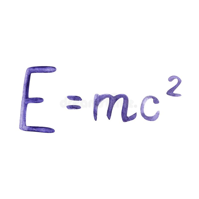 Watercolor illustration drawn with formula. The famous formula E mc2. Formula expressing the equivalence of mass and royalty free illustration
