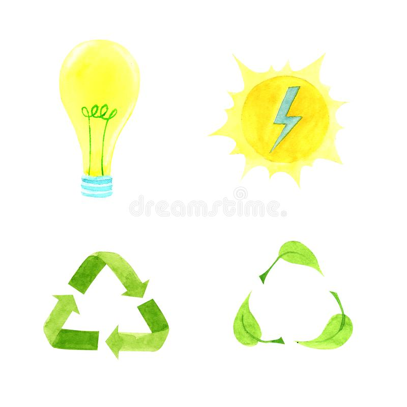 Watercolor illustration ecology and solar energy concept set royalty free stock image
