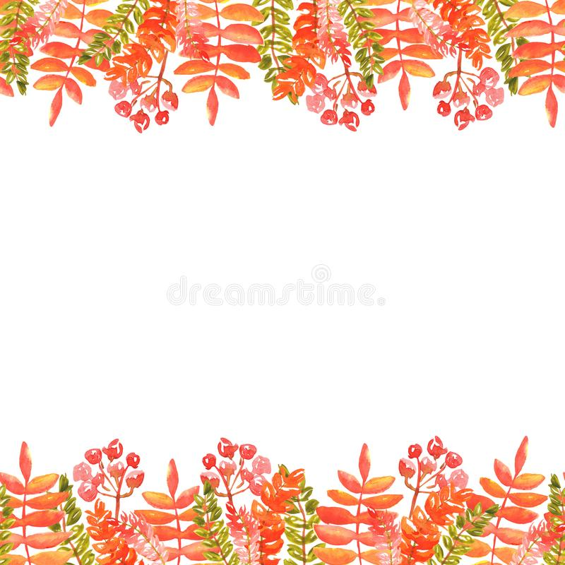 Watercolor illustration of the edges of autumn leaves and sprigs of rowan red orange shades. seamless frame stock photography