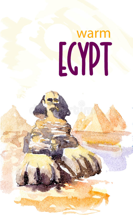 Watercolor illustration of egypt sight seeings with text place. Good for warm memory postcard design, any graphic design or book illustration royalty free illustration