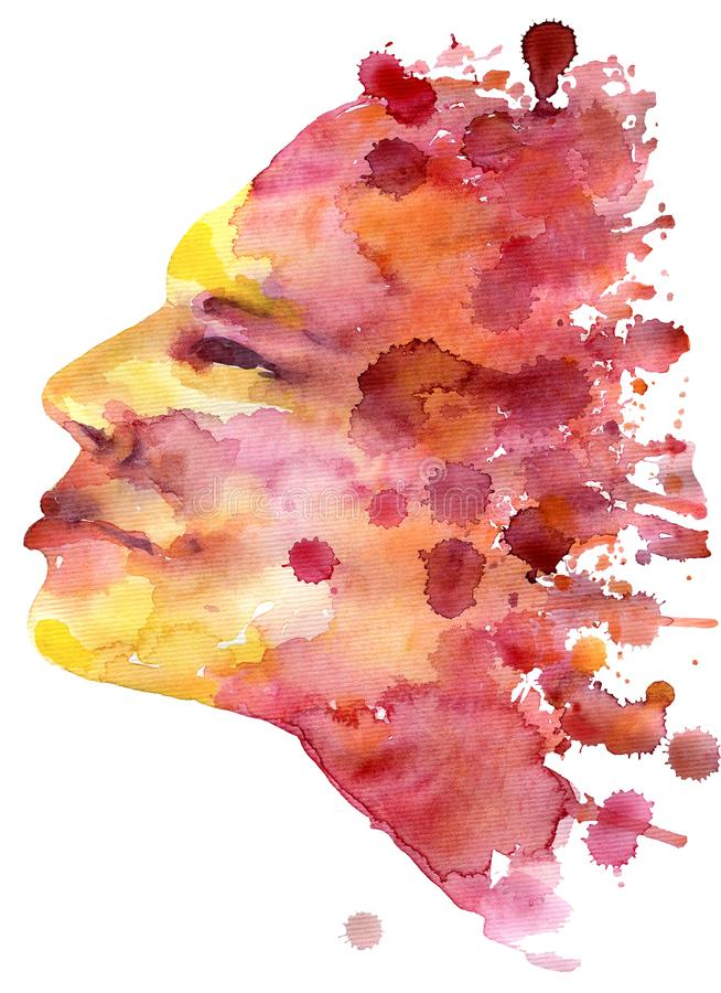Watercolor illustration emotion of happiness in warm tones royalty free stock images