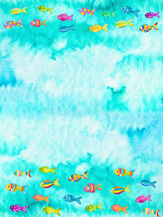 Watercolor illustration of fishes. Watercolor illustration of colorful fishes stock illustration