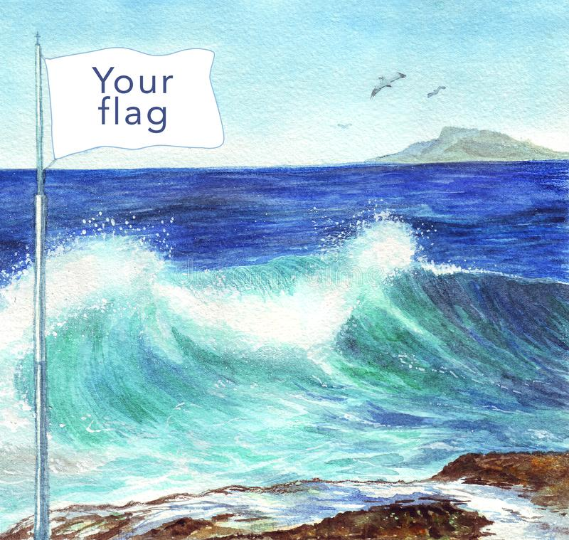 Watercolor illustration flag by the sea. Independence day. Postcard, poster, web. vector illustration