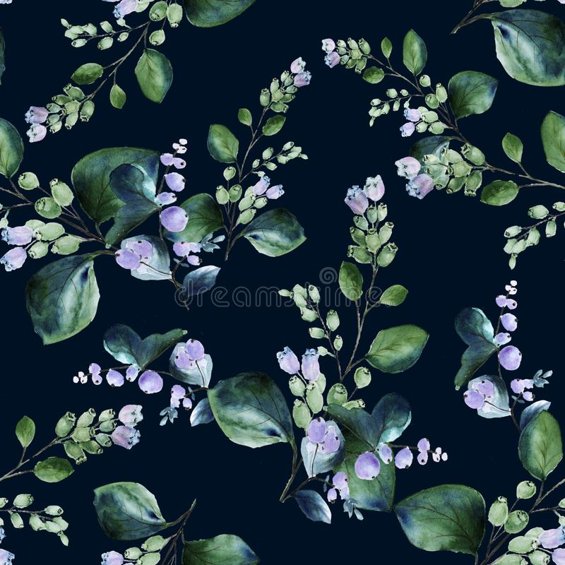 Floral seamless watercolor pattern with blooming snowberry twigs on dark background stock image