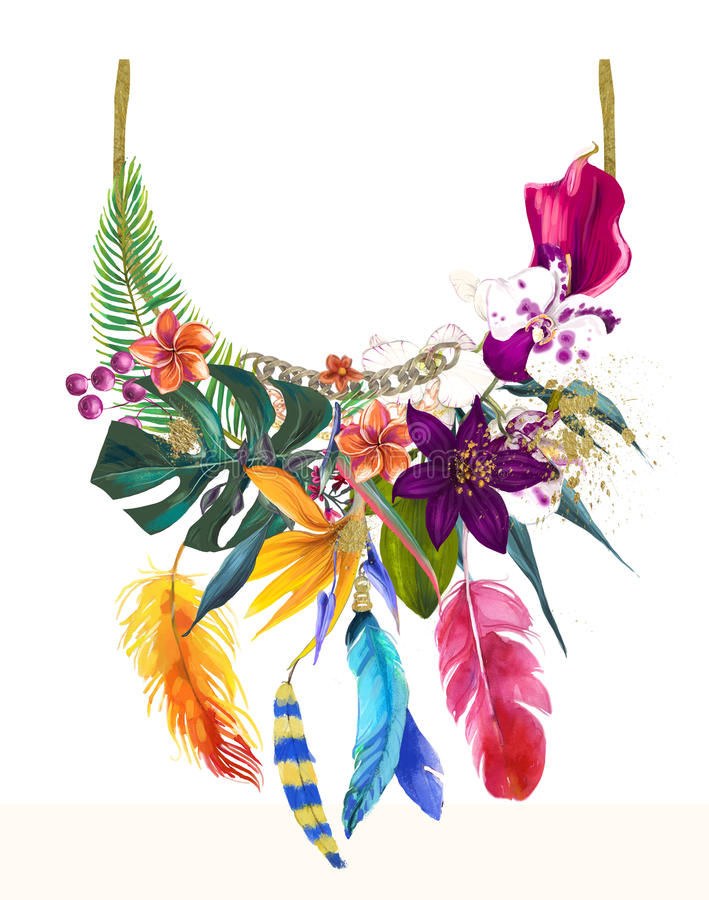 Watercolor illustration with floral necklace royalty free illustration