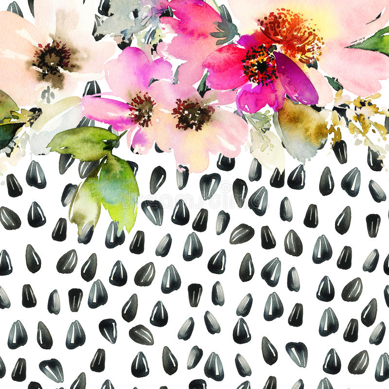 Watercolor illustration of floral seamless pattern. royalty free illustration