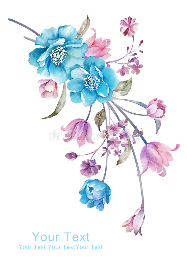Watercolor illustration flower bouquet in simple background royalty free illustration