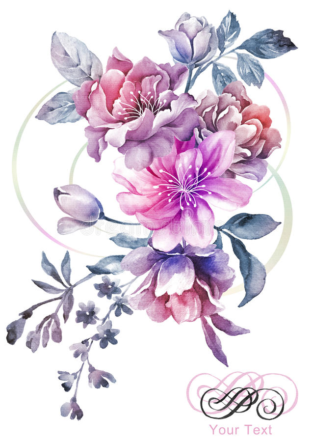 Watercolor illustration flower in simple background royalty free illustration