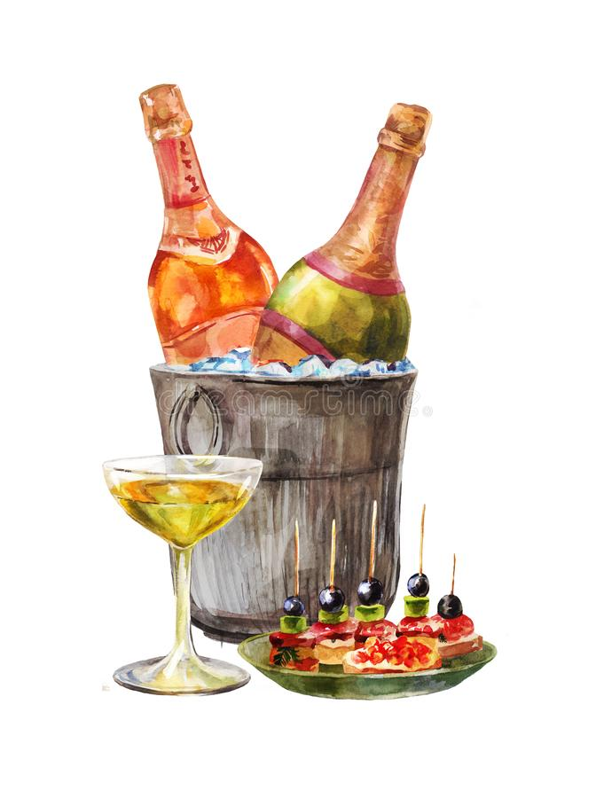 Free Watercolor Illustration For Invitation Degustation Or Tasting. Wine Or Shampagne Bottles In The Ice Bucket. Hand-drawn Vintage Royalty Free Stock Photos - 136587788