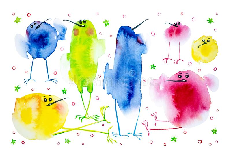 Watercolor illustration of funny birds, childish, set. Print, elements for design. Isolated on white background royalty free illustration