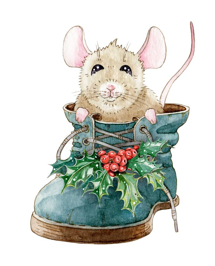 Watercolor illustration of a funny little mouse, sitting in the shoe. Hand drawn cute rat in a boot with holly leaves. stock illustration