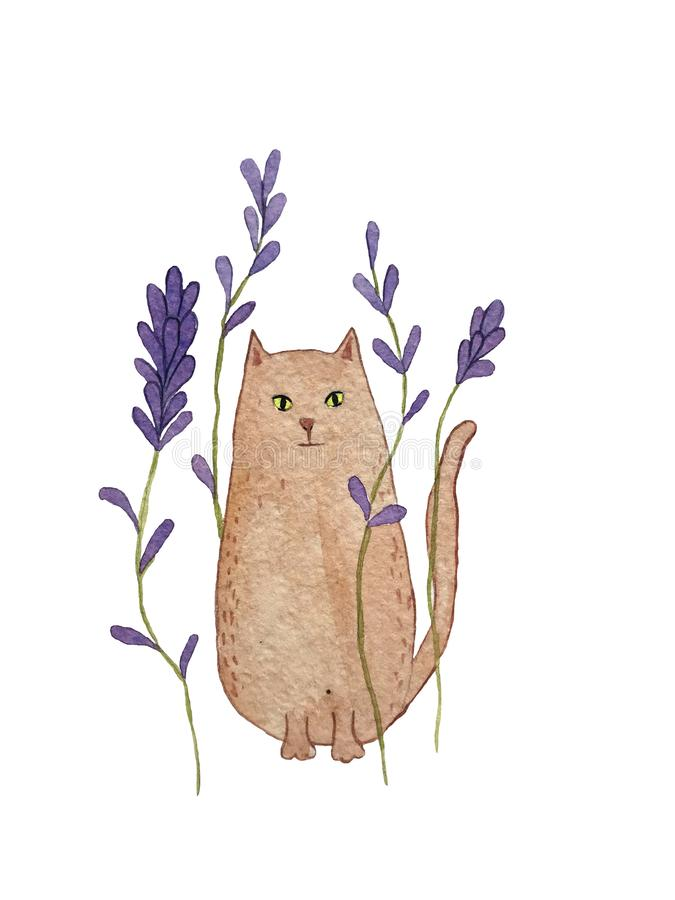 Watercolor illustration of ginger car with lavender flowers stock illustration