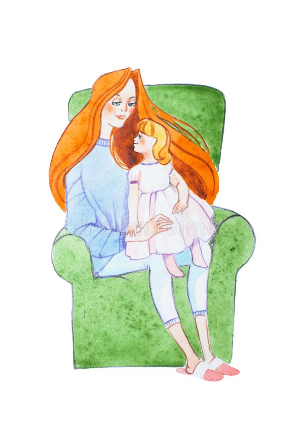 Watercolor illustration of ginger family. Young mother reading a book to her son sitting on her lap vector illustration