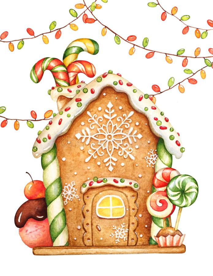 Watercolor illustration of the gingerbread house with garlands stock illustration
