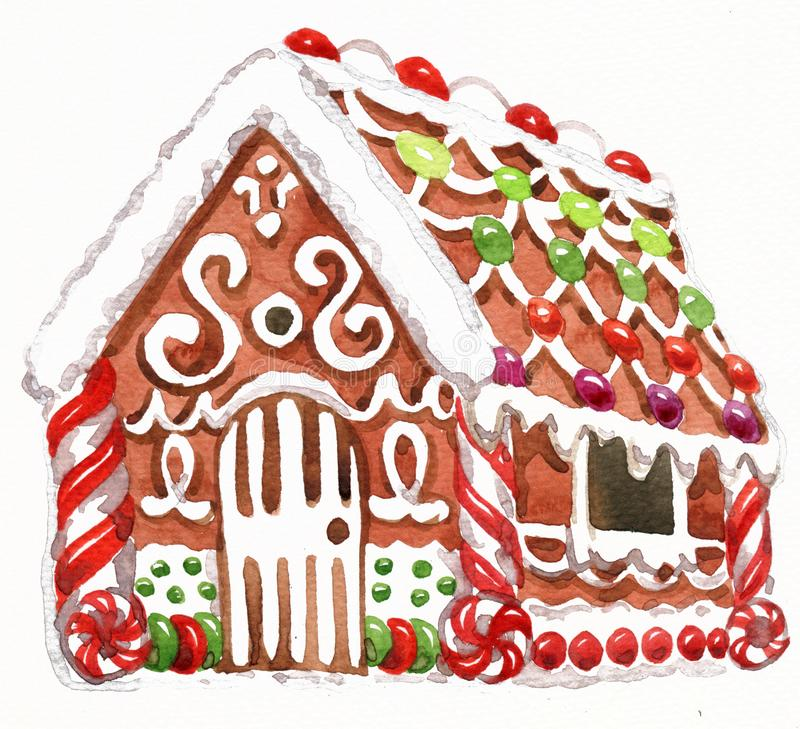 Watercolor illustration of gingerbread house with glaze, sweets and garlands. Christmas holiday mood. vector illustration