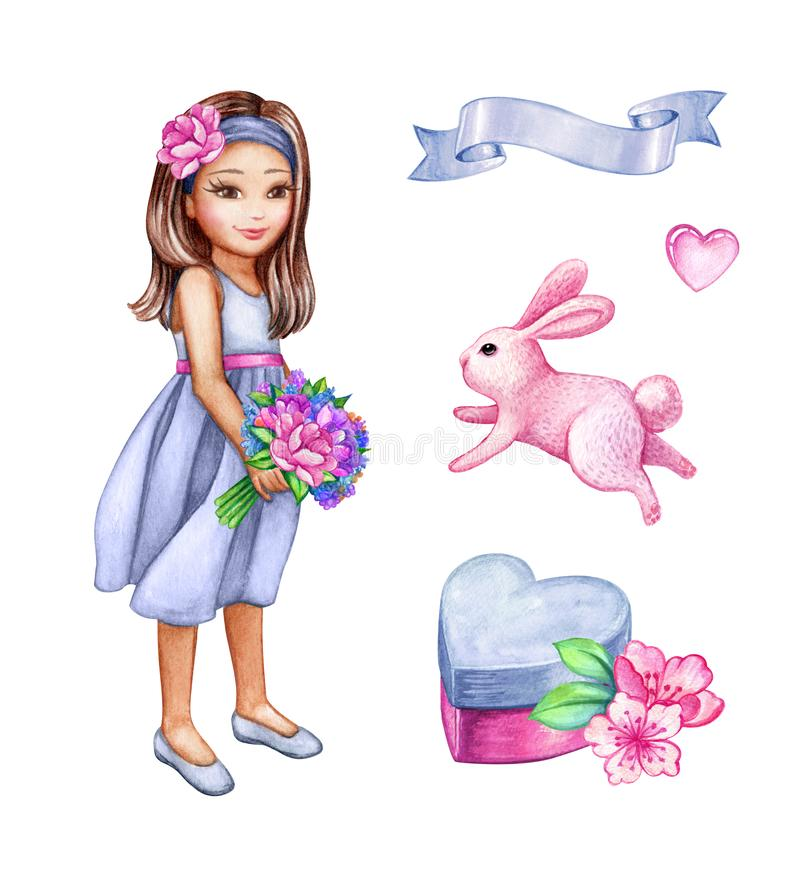 Watercolor illustration, girl in blue dress holding flower bouquet, cute coquette, holiday clip art set, bunny, heart gift box. Watercolor illustration, girl in royalty free stock photography