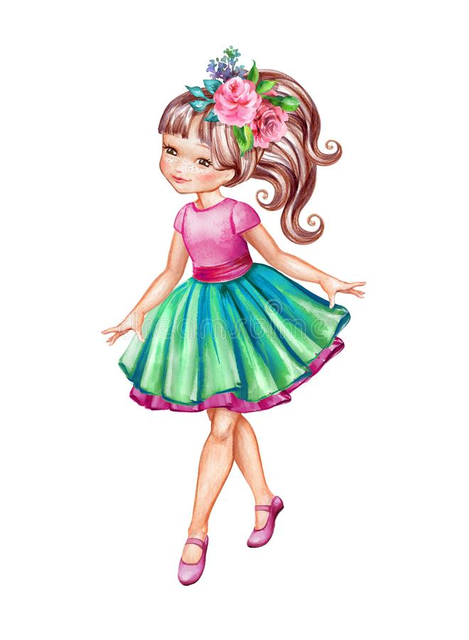 Free Watercolor Illustration, Girl In Pink Top And Green Skirt, Cute Little Coquette, Ballerina, Isolated On White Background Royalty Free Stock Images - 156254129