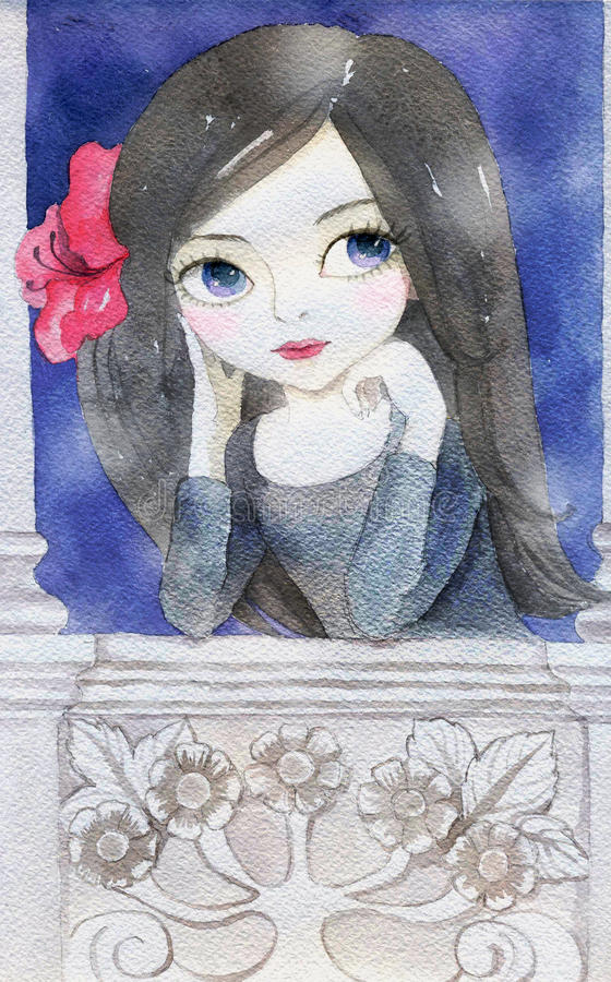 Watercolor Illustration of a Girl vector illustration