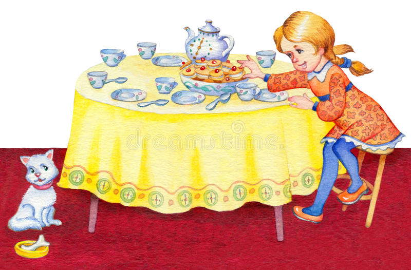 Watercolor illustration. Girl takes cookies with festive table stock illustration