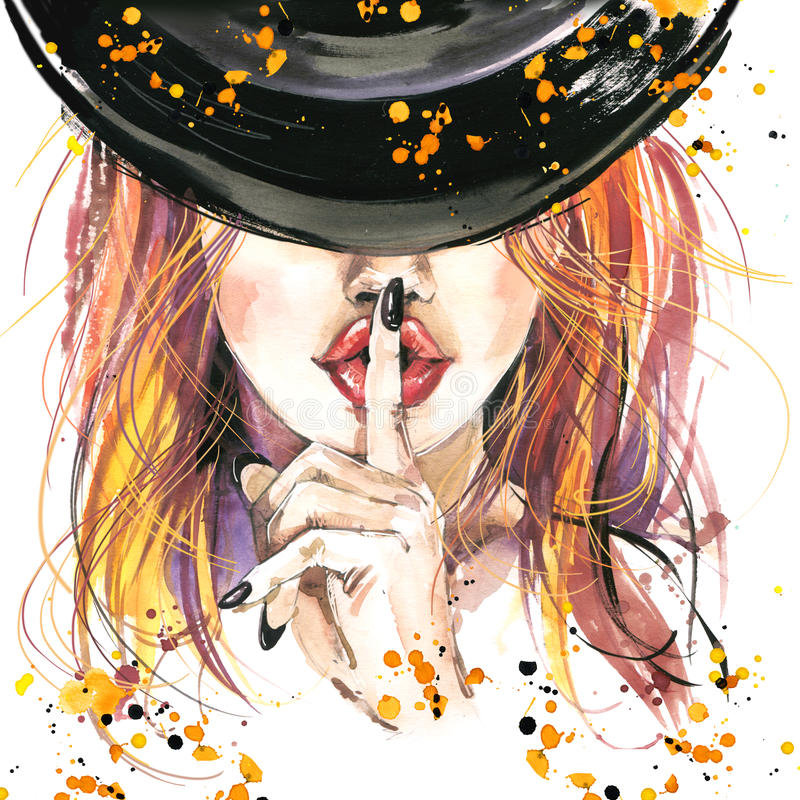 Free Watercolor Illustration Girl Witches And Halloween Party Stock Photography - 61079322