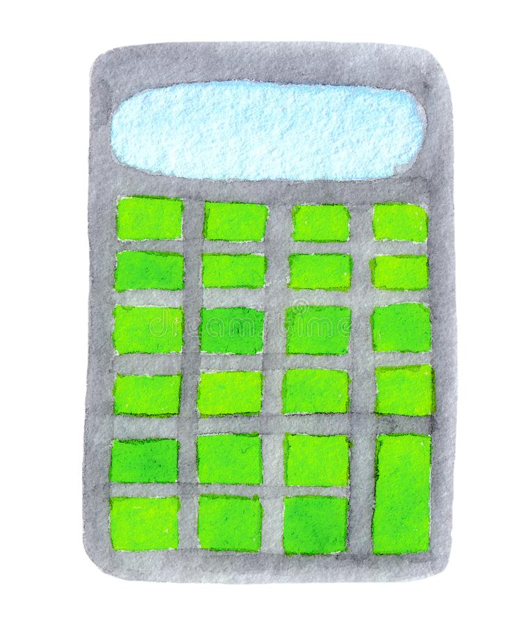 Watercolor illustration of gray calculator with green buttons isolated on white background royalty free illustration