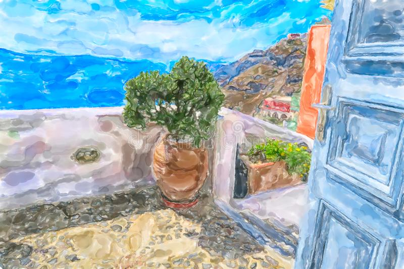 Watercolor illustration of Greek Island Santorini royalty free illustration