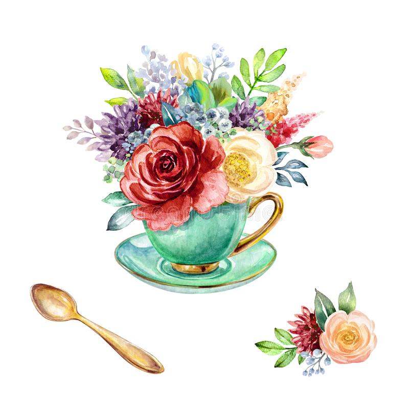 Watercolor illustration, green tea cup with floral bouquet inside, botanical decor, bohemian style arrangement, red and white. Roses and peonies, boho floral vector illustration