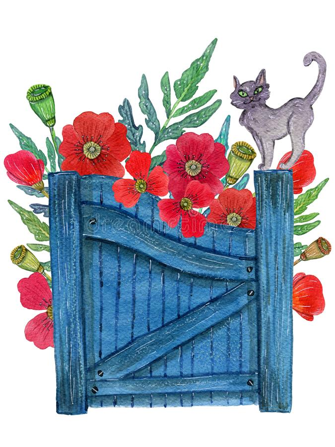 Cat at the gate and flowers behind. Watercolor illustration of a grey cat with green eyes sitting on the blue garden gate and a bunch of poppies sticking behind royalty free illustration