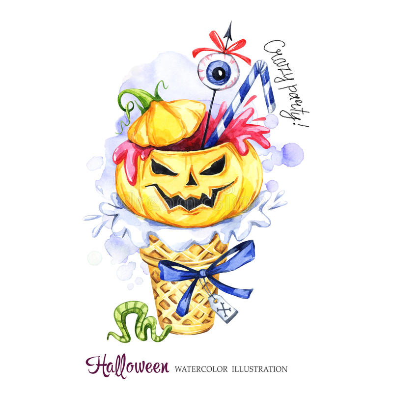 Watercolor illustration. Halloween holidays card. Hand painted waffle cone, pumpkin with blood, eye . Funny ice cream royalty free illustration