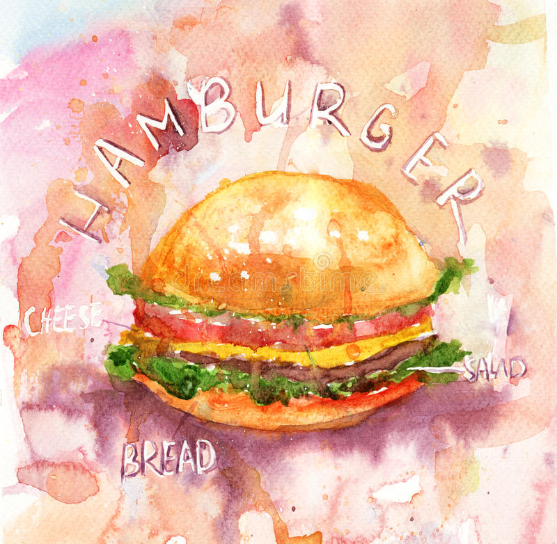 Download Watercolor Illustration Of Hamburger Stock Illustration - Illustration: 25709254