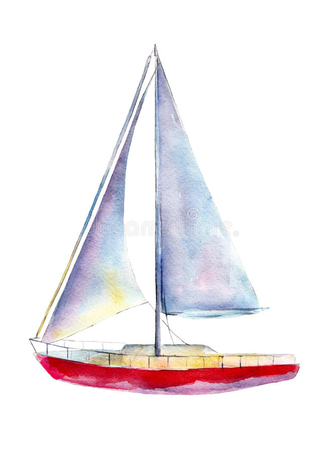 Watercolor illustration, hand drawn sailboat isolated object on white. stock illustration