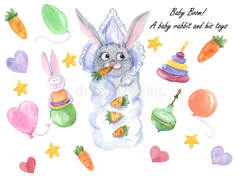A baby rabbit and toys vector illustration