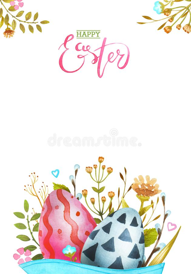 Watercolor illustration Happy Easter. Greeting Card. royalty free stock image