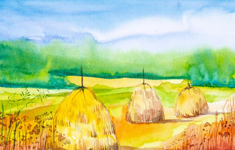 Watercolor illustration of a haystack. In the foreground yellow spikelets of grass in the background green forest.  stock illustration