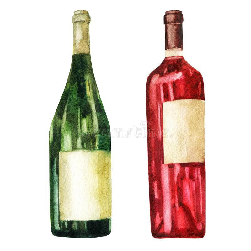 Watercolor illustration. Image of bottles of wine. royalty free illustration