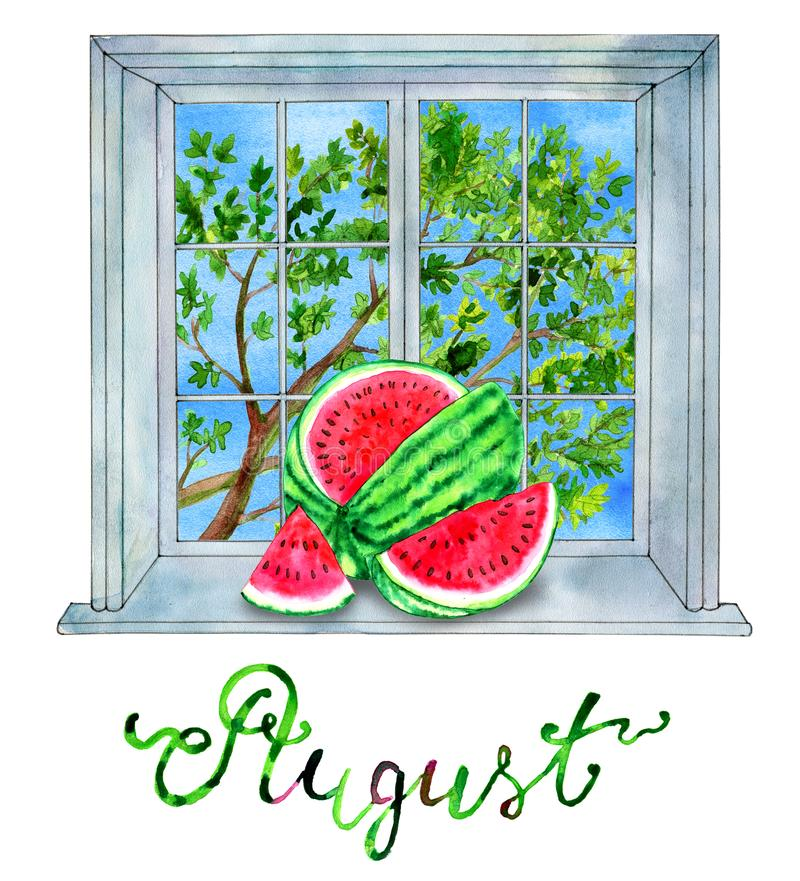 August month. Watermelon against the background with green tree stock illustration