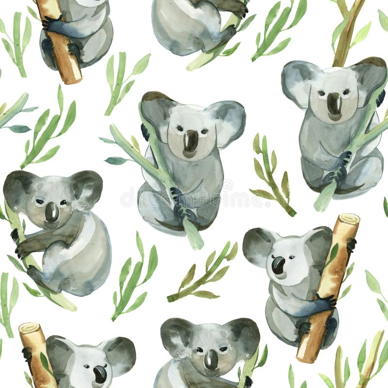 Seamless pattern of watercolor koala is holding the bamboo stock illustration