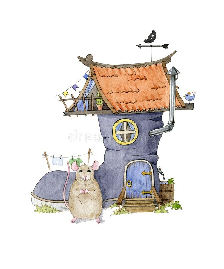 Watercolor illustration of a little funny mouse and house from the shoe isolated on white background. Cartoon drawing funny animal stock illustration